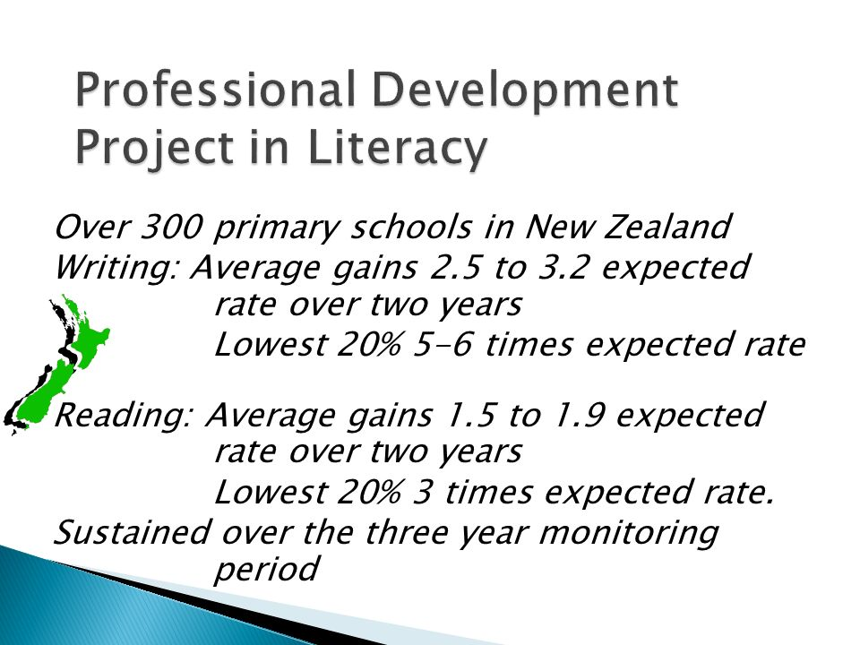 Over 300 primary schools in New Zealand Writing: Average gains 2.5 to 3.2 expected rate over two years Lowest 20% 5-6 times expected rate Reading: Average gains 1.5 to 1.9 expected rate over two years Lowest 20% 3 times expected rate.