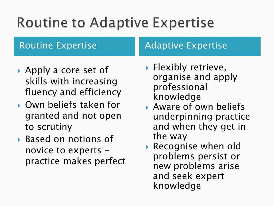 Routine Expertise Adaptive Expertise  Apply a core set of skills with increasing fluency and efficiency  Own beliefs taken for granted and not open to scrutiny  Based on notions of novice to experts – practice makes perfect  Flexibly retrieve, organise and apply professional knowledge  Aware of own beliefs underpinning practice and when they get in the way  Recognise when old problems persist or new problems arise and seek expert knowledge