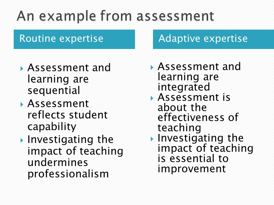 Routine expertise Adaptive expertise  Assessment and learning are sequential  Assessment reflects student capability  Investigating the impact of teaching undermines professionalism  Assessment and learning are integrated  Assessment is about the effectiveness of teaching  Investigating the impact of teaching is essential to improvement