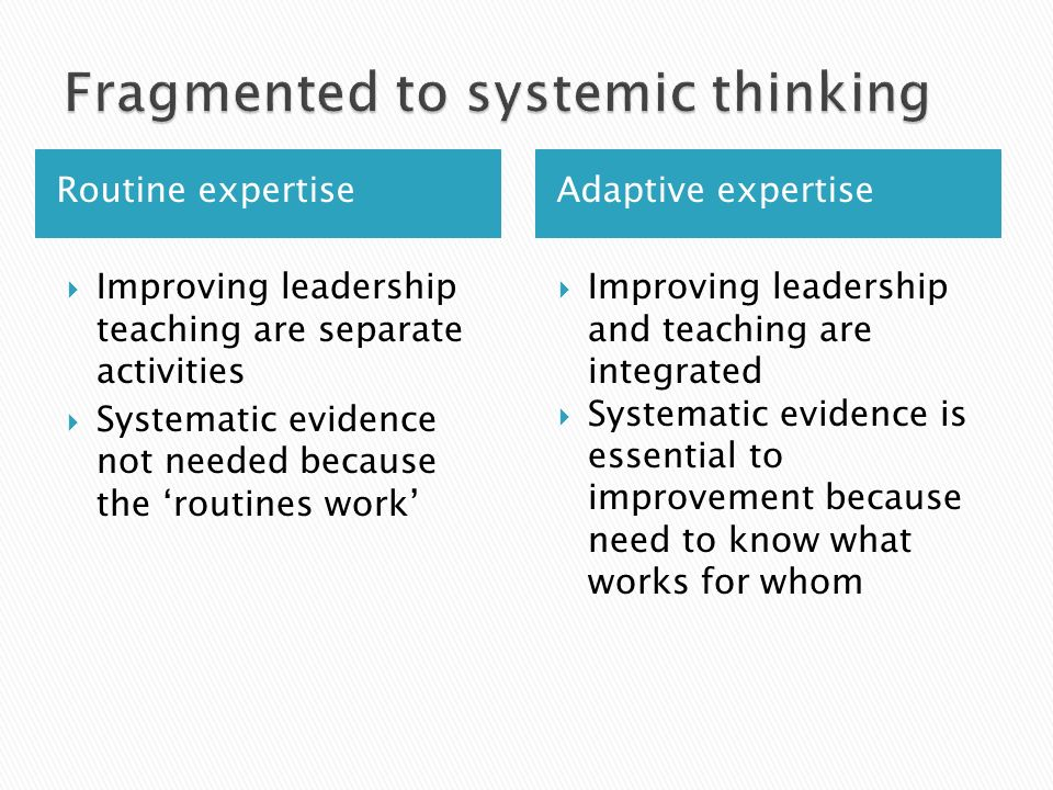 Routine expertise Adaptive expertise  Improving leadership teaching are separate activities  Systematic evidence not needed because the 'routines work'  Improving leadership and teaching are integrated  Systematic evidence is essential to improvement because need to know what works for whom