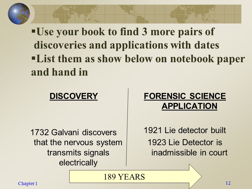 Chapter 1 Kendall/Hunt Publishing Company11 Major Developments in Forensic Science History  1859—Gustav Kirchhoff and Robert Bunsen developed the science of spectroscopy.