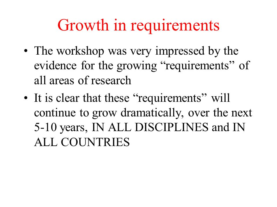 Growth in requirements The workshop was very impressed by the evidence for the growing requirements of all areas of research It is clear that these requirements will continue to grow dramatically, over the next 5-10 years, IN ALL DISCIPLINES and IN ALL COUNTRIES