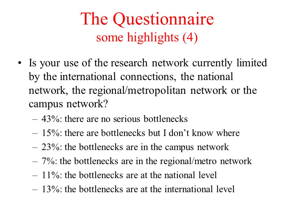 The Questionnaire some highlights (4) Is your use of the research network currently limited by the international connections, the national network, the regional/metropolitan network or the campus network.