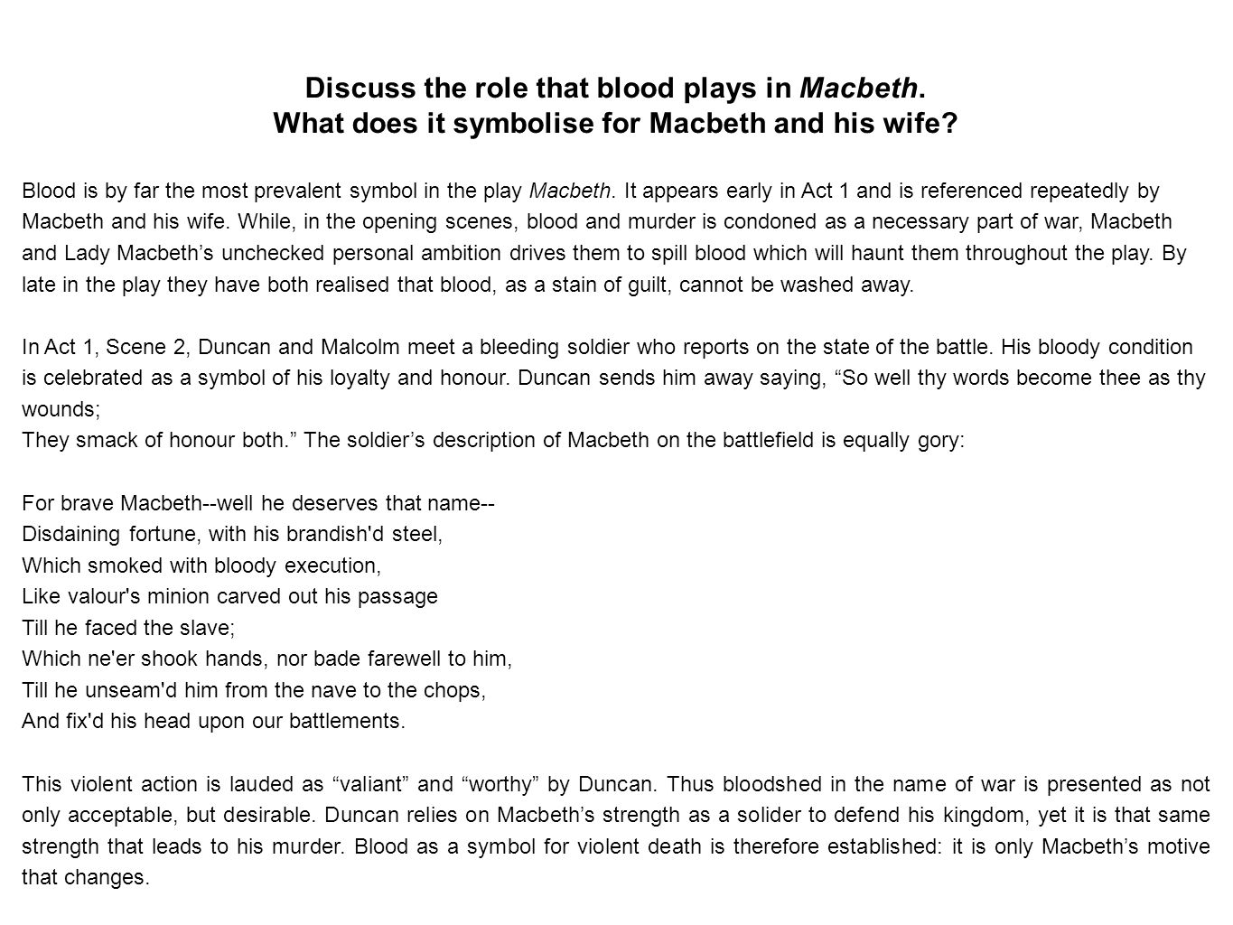 essay writing it s really not that bad the essentials an  discuss the role that blood plays in macbeth what does it symbolise for macbeth and