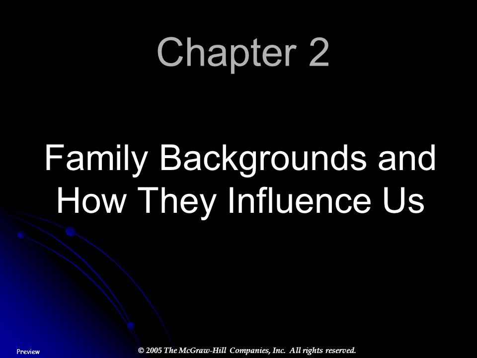 © 2005 The McGraw-Hill Companies, Inc. All rights reserved. Chapter 2 Family Backgrounds and How They Influence Us Preview