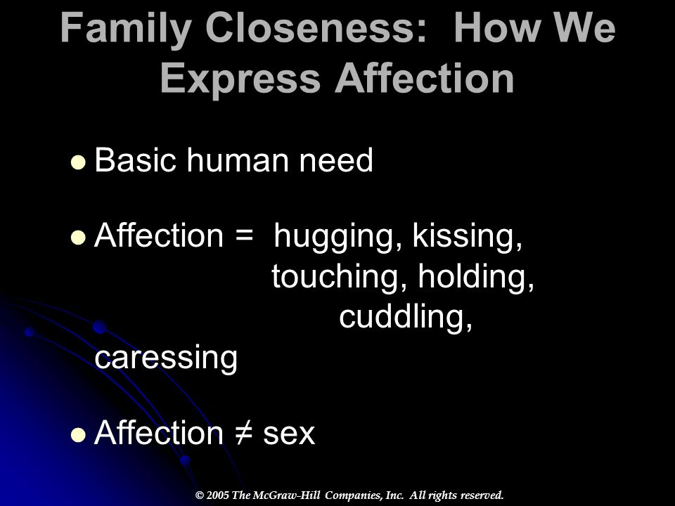 Family Closeness: How We Express Affection Basic human need Affection = hugging, kissing, touching, holding, cuddling, caressing Affection ≠ sex
