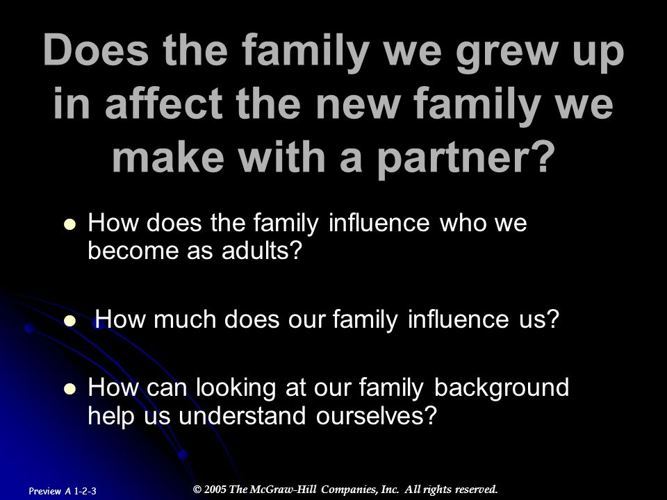 © 2005 The McGraw-Hill Companies, Inc. All rights reserved. Does the family we grew up in affect the new family we make with a partner? How does the f