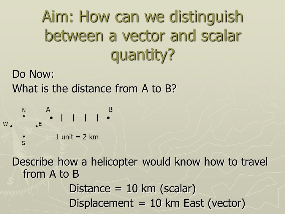Aim: How can we distinguish between a vector and scalar quantity.