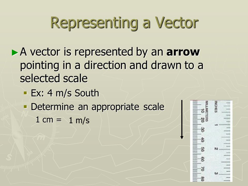 Representing a Vector ► A vector is represented by an arrow pointing in a direction and drawn to a selected scale  Ex: 4 m/s South  Determine an appropriate scale 1 cm = 1 m/s