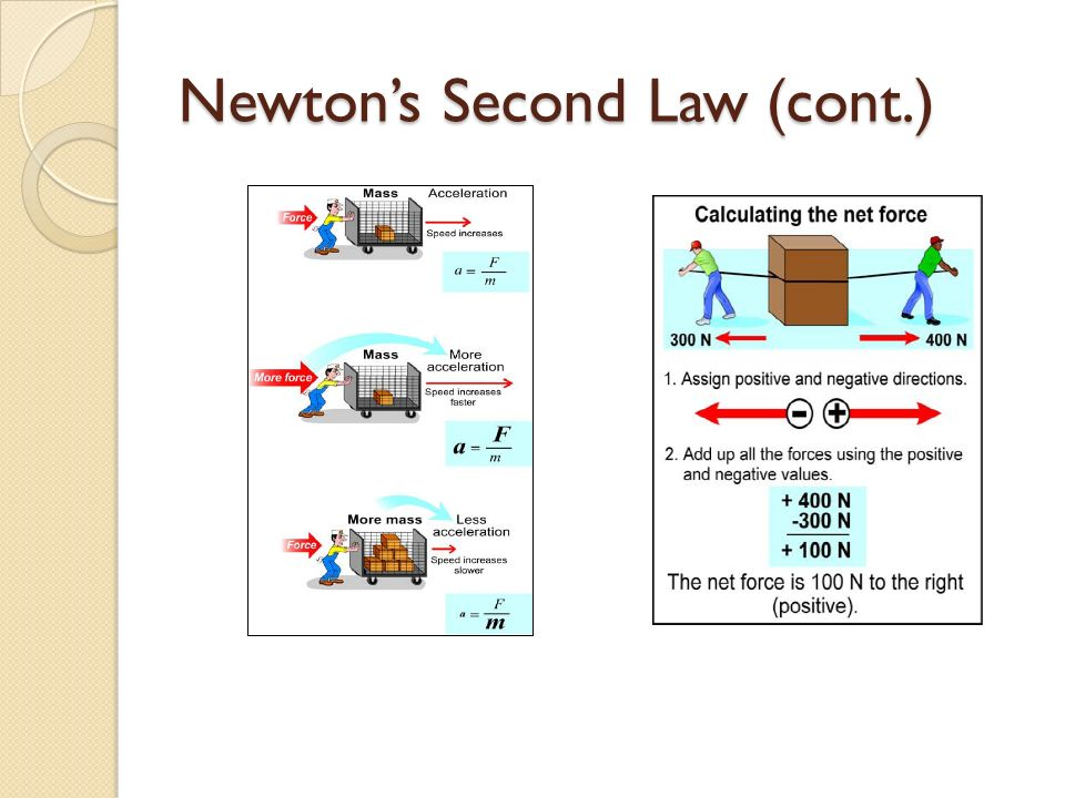 Newton's Second Law (cont.)