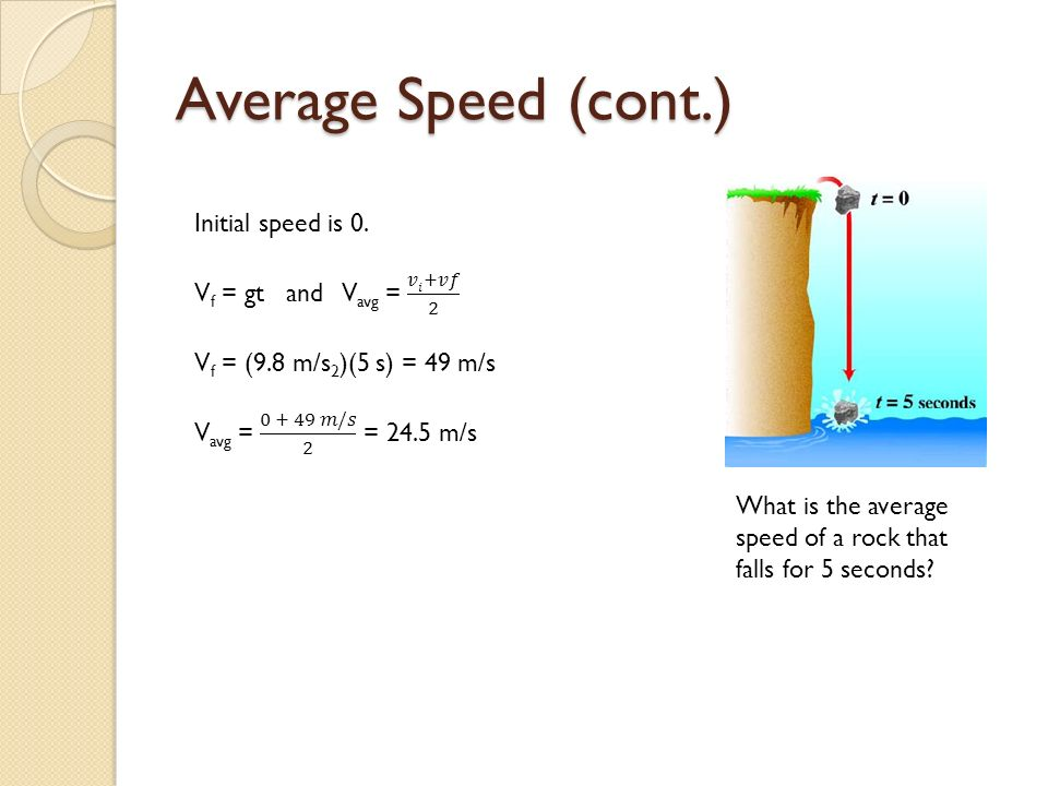 Average Speed (cont.) What is the average speed of a rock that falls for 5 seconds