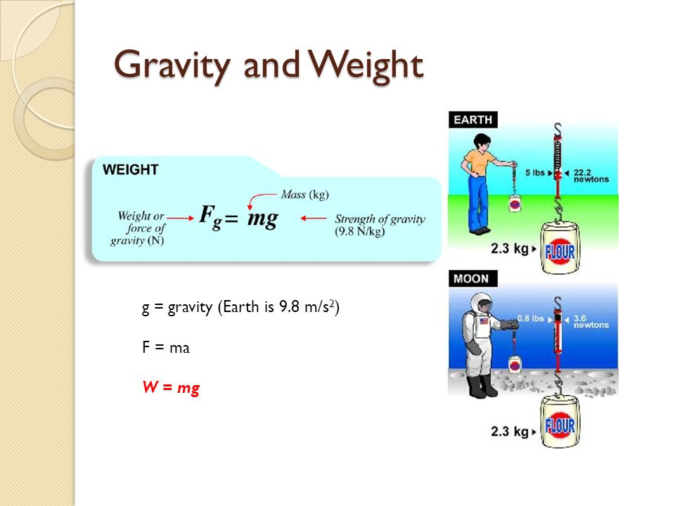 Gravity and Weight g = gravity (Earth is 9.8 m/s 2 ) F = ma W = mg