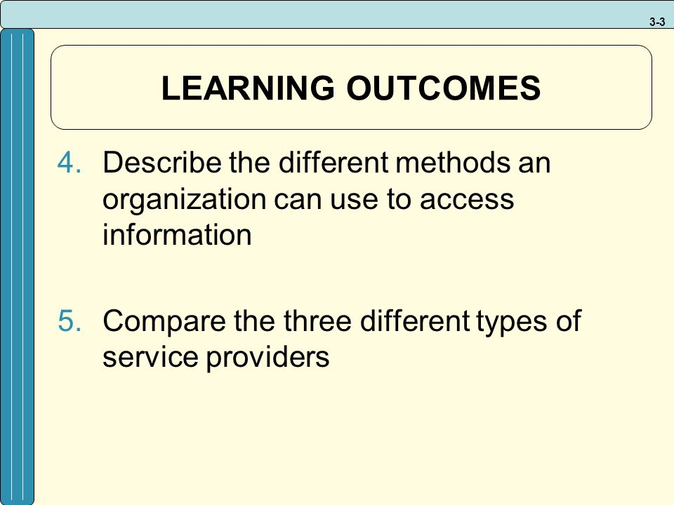 3-3 LEARNING OUTCOMES 4.Describe the different methods an organization can use to access information 5.Compare the three different types of service providers