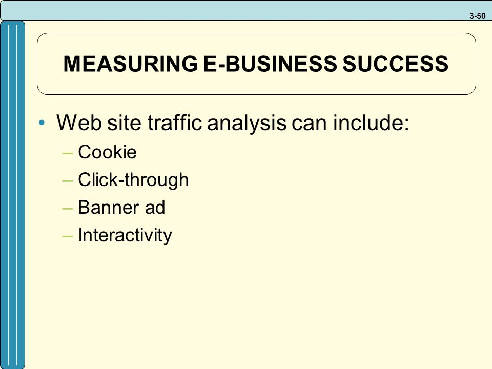 3-50 MEASURING E-BUSINESS SUCCESS Web site traffic analysis can include: –Cookie –Click-through –Banner ad –Interactivity