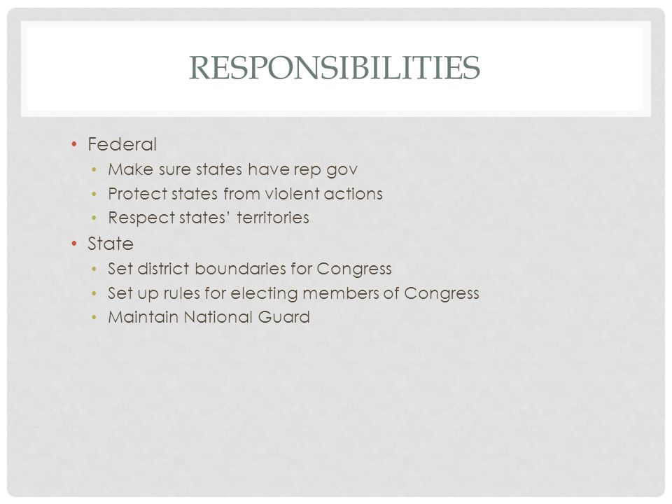 RESPONSIBILITIES Federal Make sure states have rep gov Protect states from violent actions Respect states' territories State Set district boundaries for Congress Set up rules for electing members of Congress Maintain National Guard