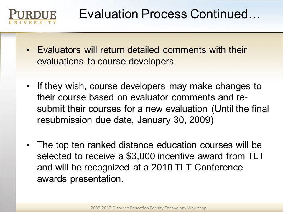 7 2009 2010 distance education faculty technology workshop evaluation - Education Evaluator