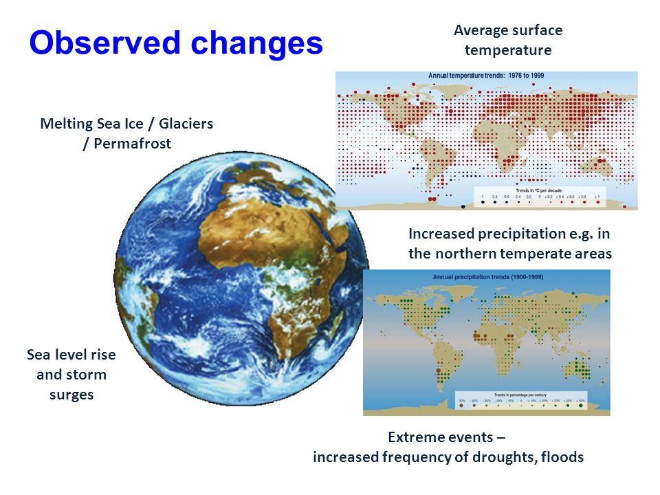 Observed changes Average surface temperature Sea level rise and storm surges Melting Sea Ice / Glaciers / Permafrost Increased precipitation e.g.