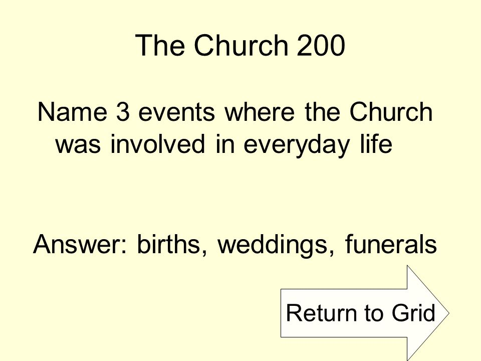 Return to Grid The Church 200 Name 3 events where the Church was involved in everyday life Answer: births, weddings, funerals