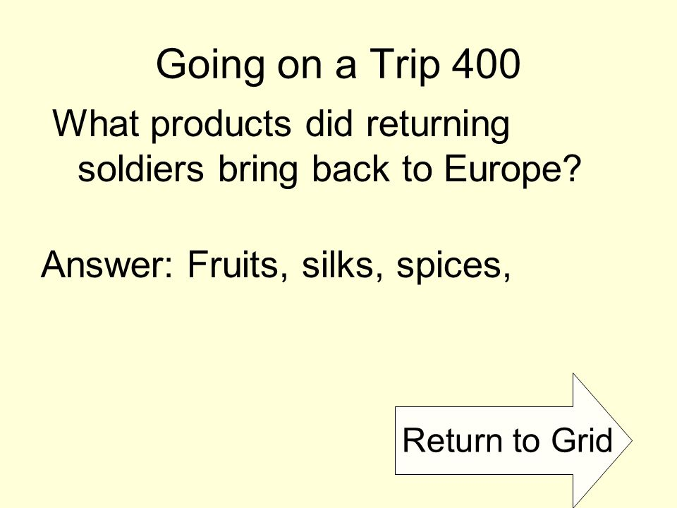 Return to Grid Going on a Trip 400 What products did returning soldiers bring back to Europe.