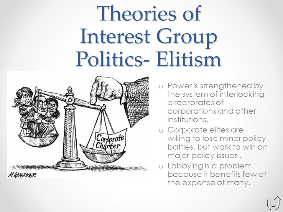 Theories of Interest Group Politics- Elitism o Power is strengthened by the system of interlocking directorates of corporations and other institutions.