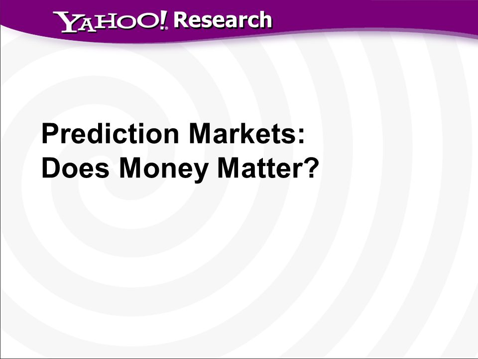 Research Prediction Markets: Does Money Matter