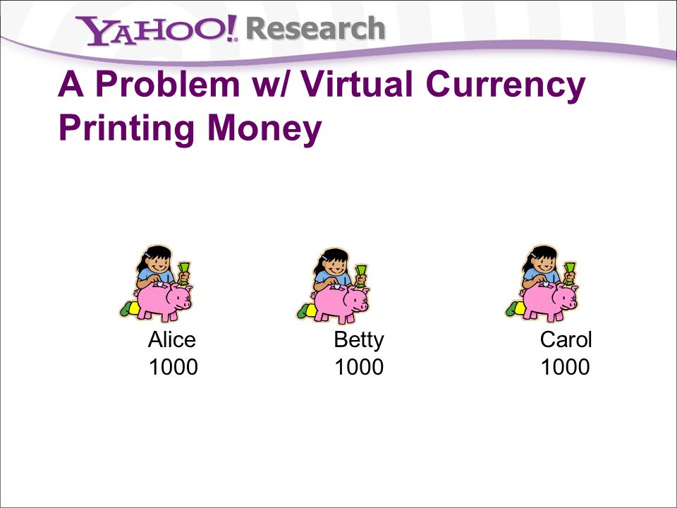 Research A Problem w/ Virtual Currency Printing Money Alice 1000 Betty 1000 Carol 1000