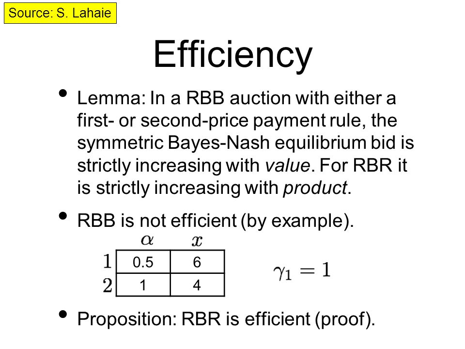 Efficiency Lemma: In a RBB auction with either a first- or second-price payment rule, the symmetric Bayes-Nash equilibrium bid is strictly increasing with value.