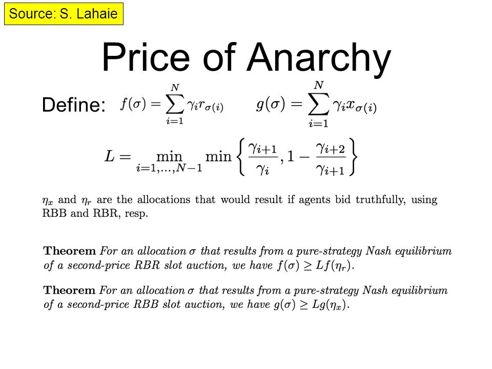 Price of Anarchy Define: Source: S. Lahaie