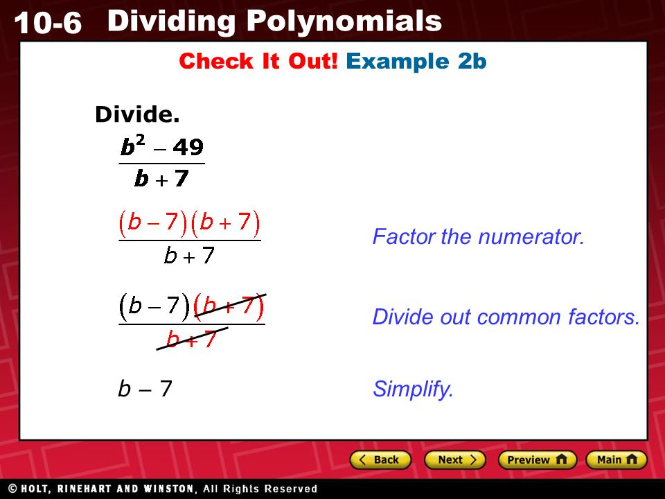 10-6 Dividing Polynomials Check It Out. Example 2b Divide.