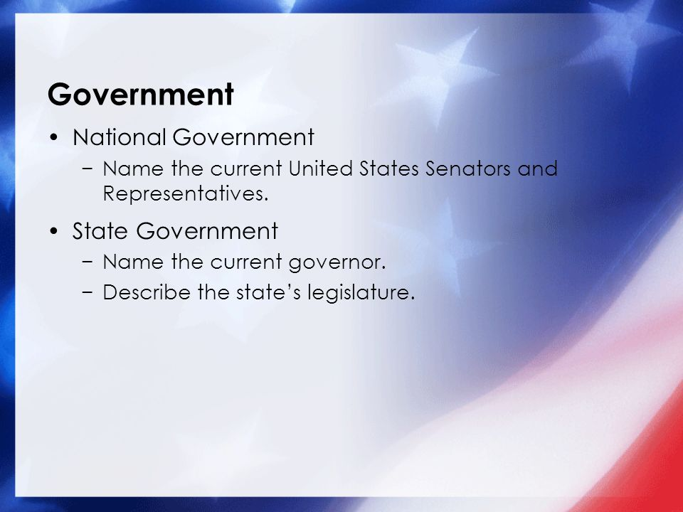 Government National Government −Name the current United States Senators and Representatives.