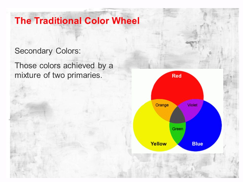 3 The Traditional Color Wheel Secondary Colors Those Achieved By A Mixture Of Two Primaries