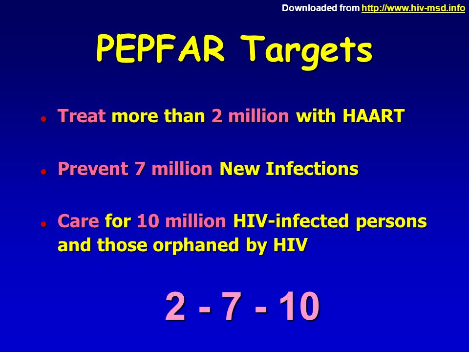Downloaded from http://www.hiv-msd.infohttp://www.hiv-msd.info PEPFAR Targets l Treat more than 2 million with HAART l Prevent 7 million New Infections Care for 10 million HIV-infected persons and those orphaned by HIV Care for 10 million HIV-infected persons and those orphaned by HIV 2 - 7 - 10
