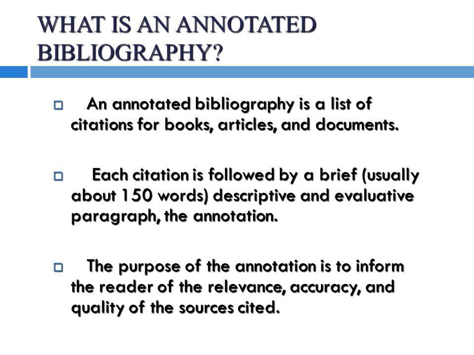 Descriptive annotated bibliography