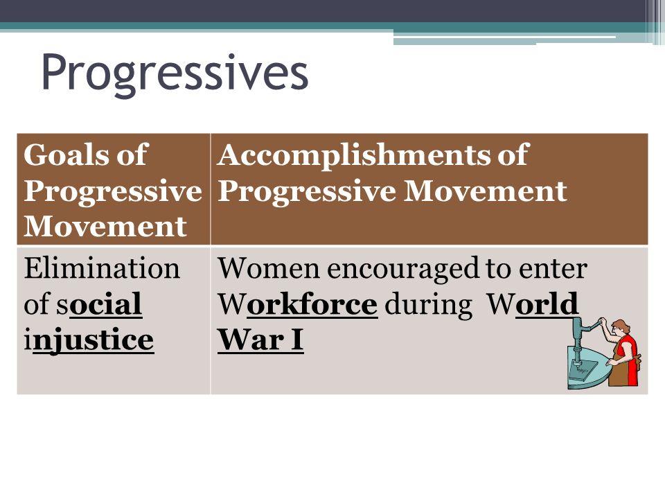 Progressives Goals of Progressive Movement Accomplishments of Progressive Movement Elimination of social injustice Women encouraged to enter Workforce during World War I