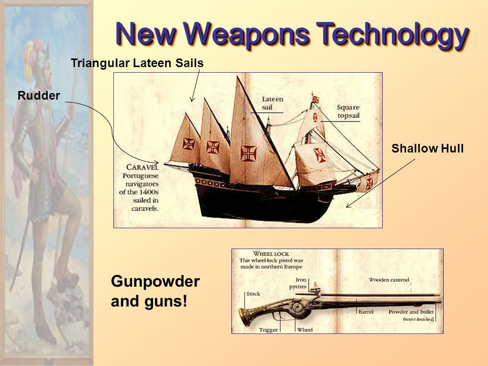 New Weapons Technology Rudder Triangular Lateen Sails Shallow Hull Gunpowder and guns!