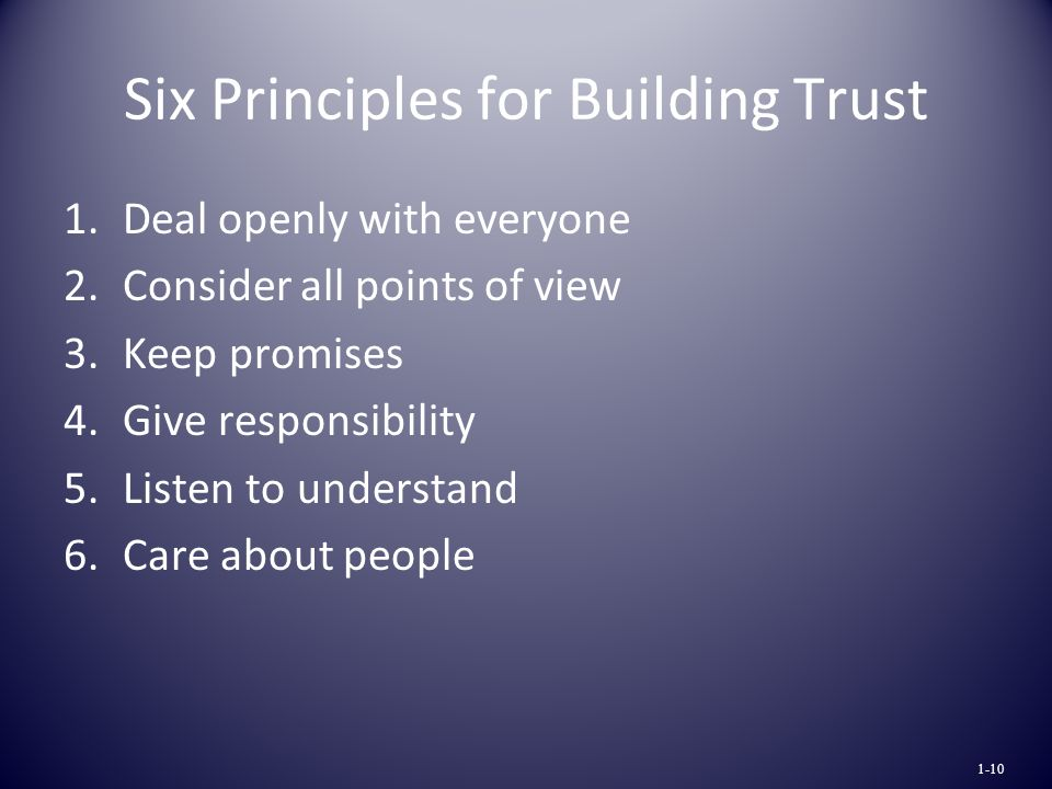 Six Principles for Building Trust 1.Deal openly with everyone 2.Consider all points of view 3.Keep promises 4.Give responsibility 5.Listen to understand 6.Care about people 1-10