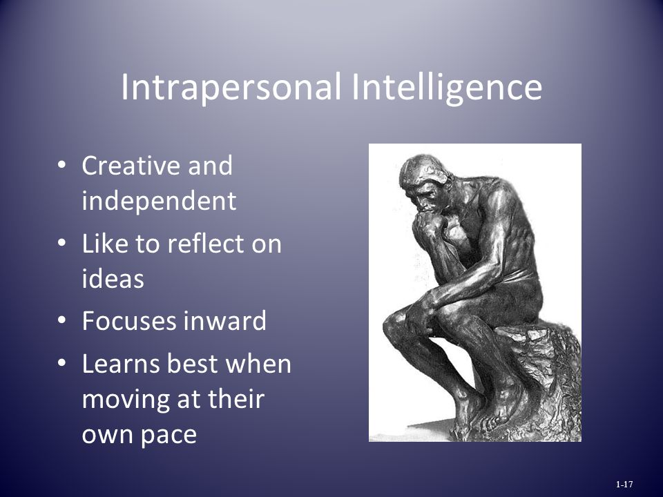 Intrapersonal Intelligence Creative and independent Like to reflect on ideas Focuses inward Learns best when moving at their own pace 1-17