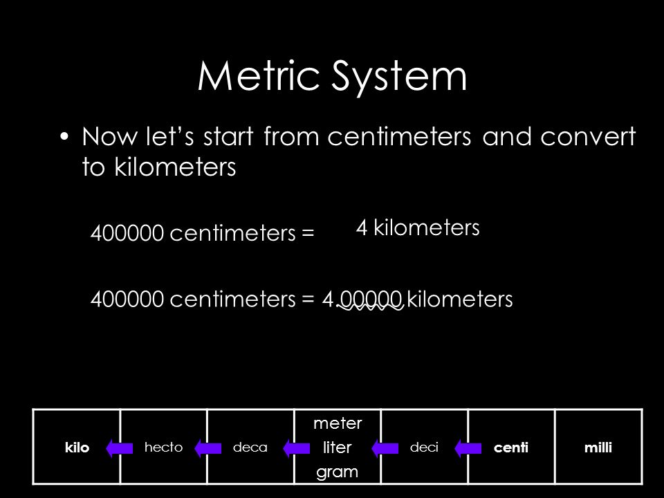 Metric System Now let's start from centimeters and convert to kilometers centimeters = kilo hectodeca meter liter gram deci centimilli 4 kilometers centimeters = kilometers