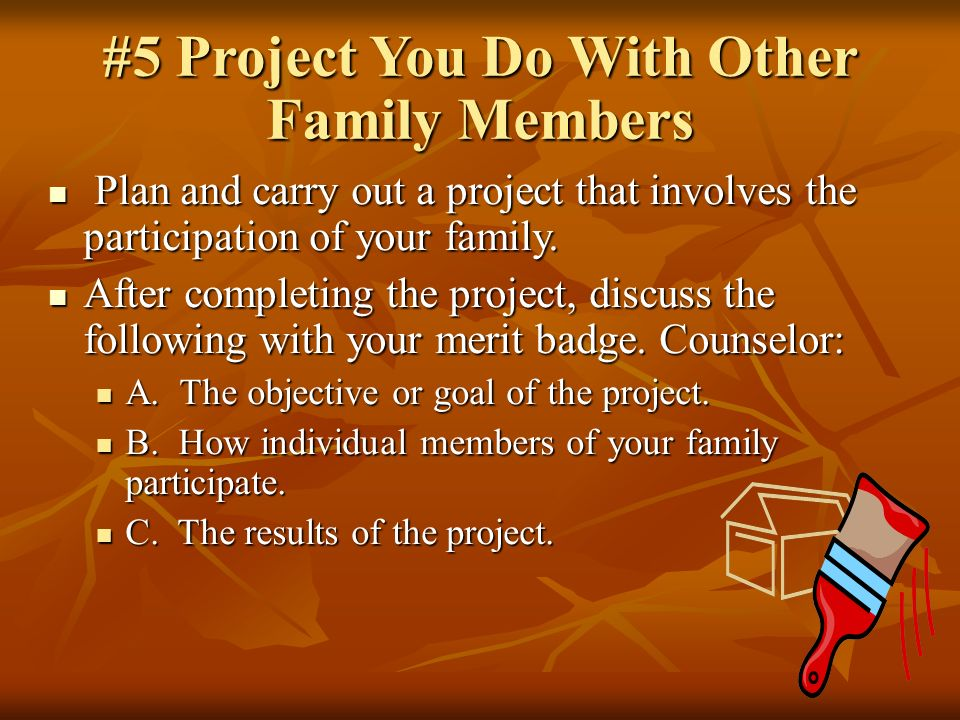 #5 Project You Do With Other Family Members Plan and carry out a project that involves the participation of your family.