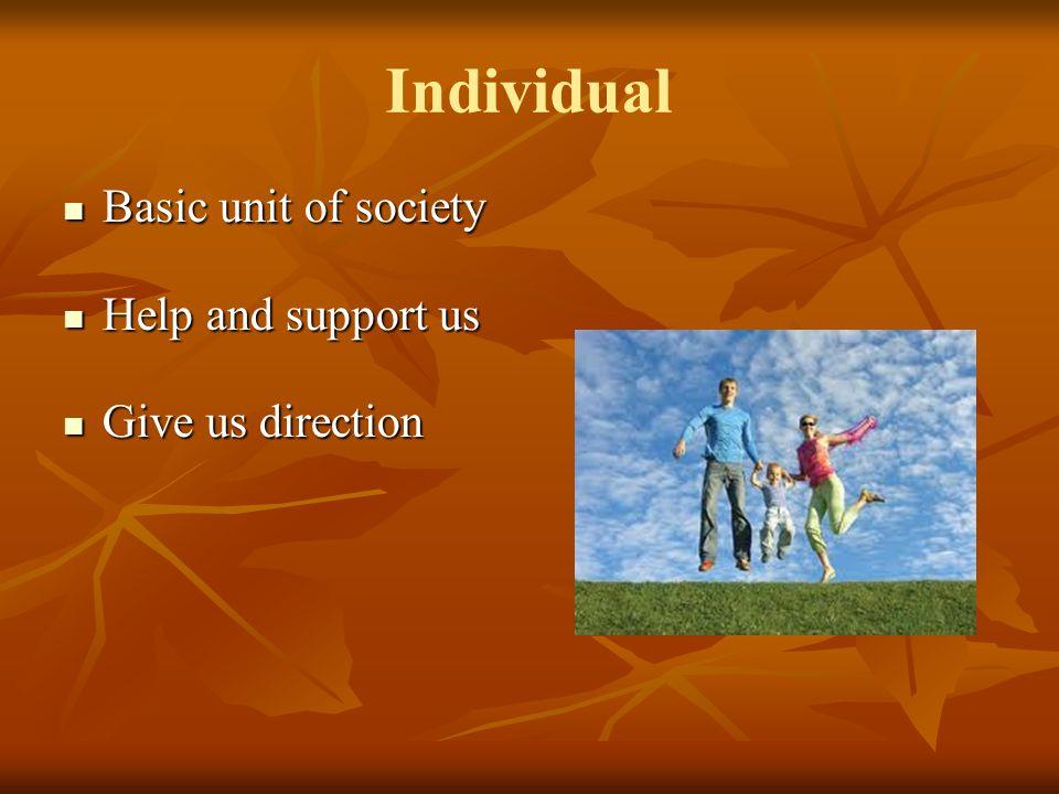 Individual Basic unit of society Basic unit of society Help and support us Help and support us Give us direction Give us direction