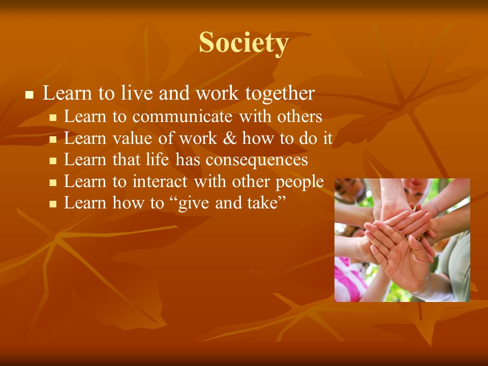 Society Learn to live and work together Learn to communicate with others Learn value of work & how to do it Learn that life has consequences Learn to interact with other people Learn how to give and take