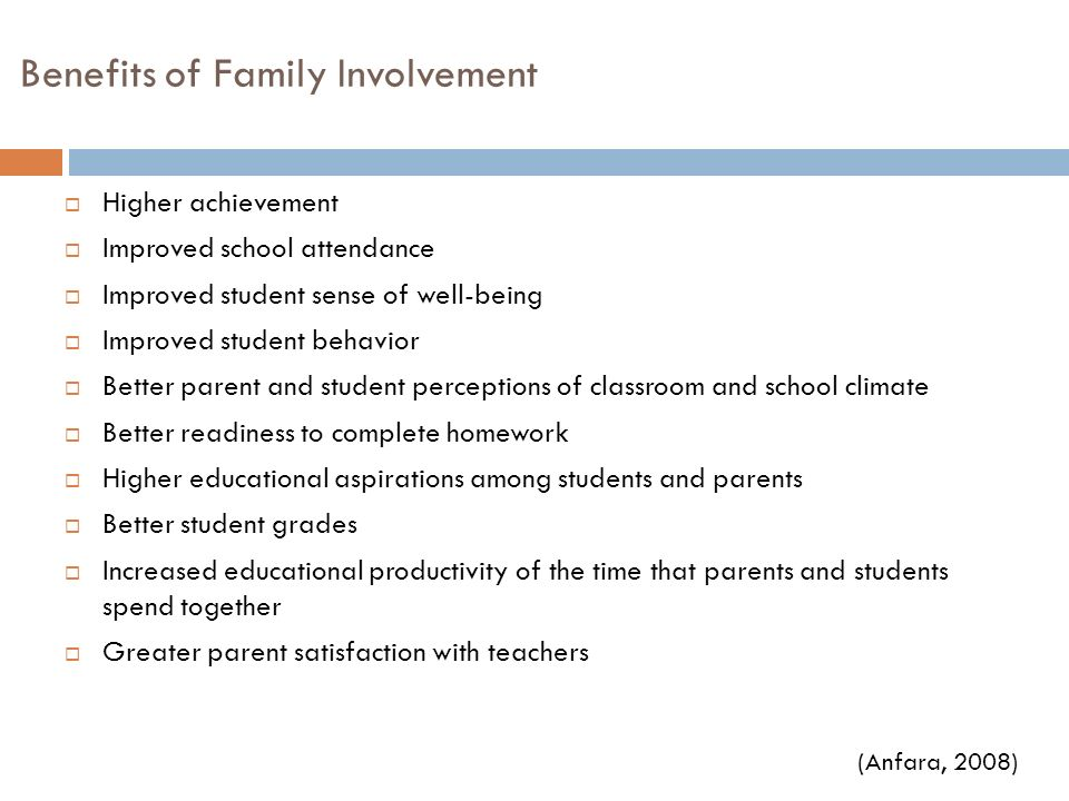 Epstein's Six Types of Family Involvement  Communicating  Communication between home and school is regular, two-way, and meaningful.