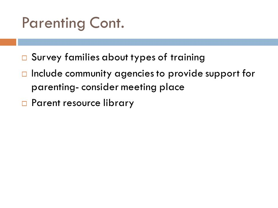 Steps for Success For Training and Support for Families  Collect Data  Tell Parents why it is important  Plan Intervention  Get Feedback  Do Intervention  Share data results  Ex.