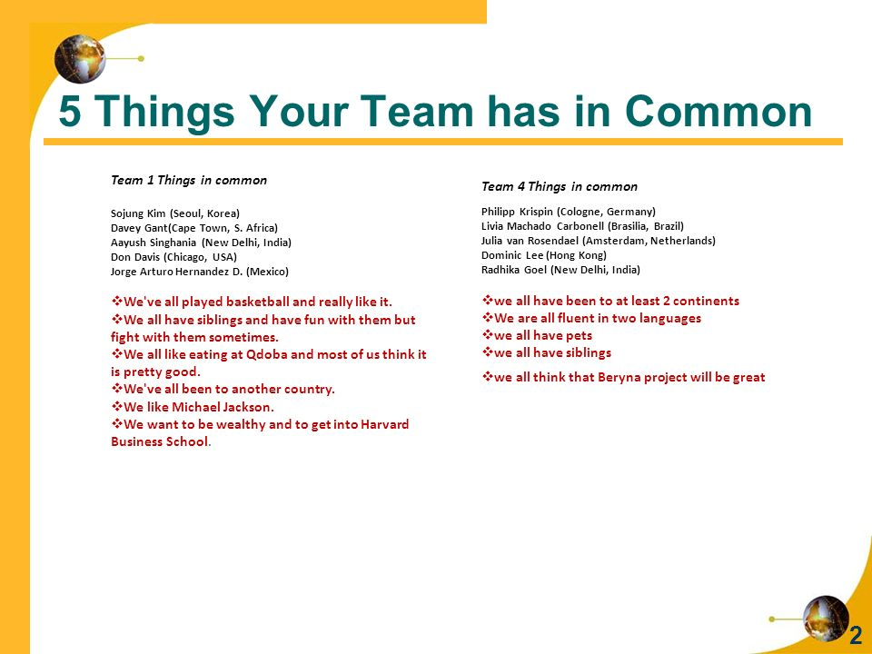 5 Things Your Team has in Common 2 Team 1 Things in common Sojung Kim (Seoul, Korea) Davey Gant(Cape Town, S.