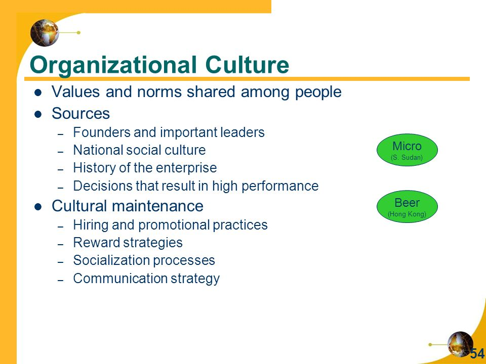 54 Organizational Culture Values and norms shared among people Sources – Founders and important leaders – National social culture – History of the enterprise – Decisions that result in high performance Cultural maintenance – Hiring and promotional practices – Reward strategies – Socialization processes – Communication strategy Micro (S.