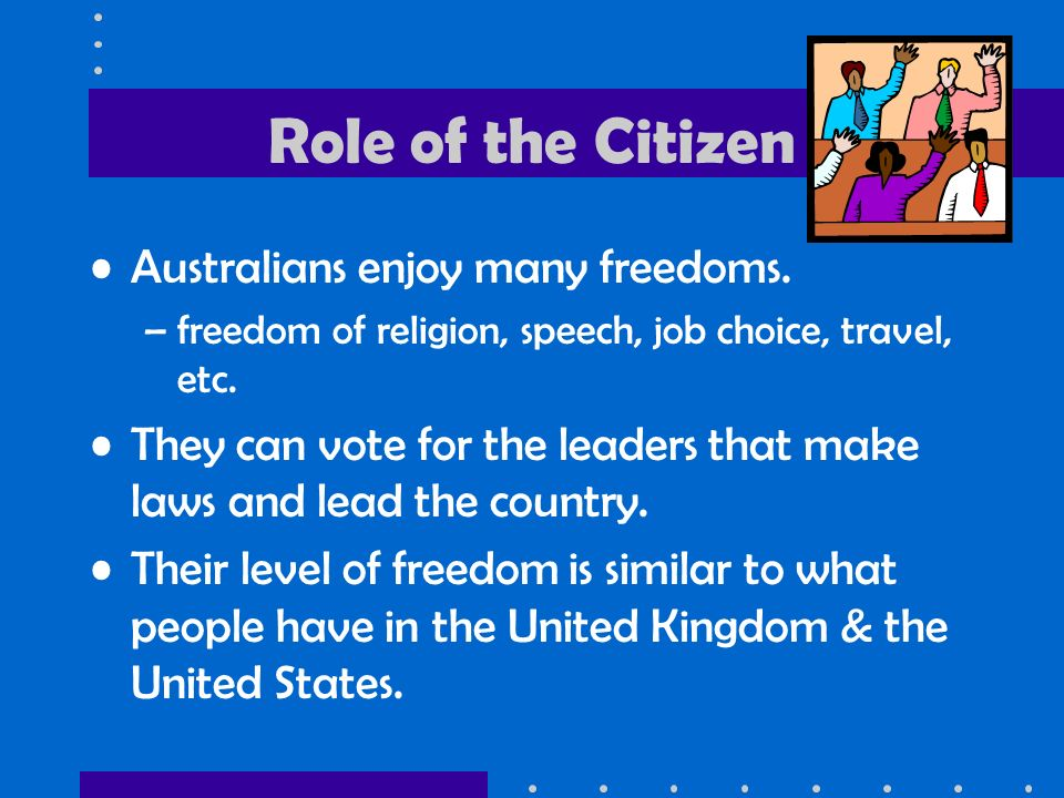 Role of the Citizen Australians enjoy many freedoms.