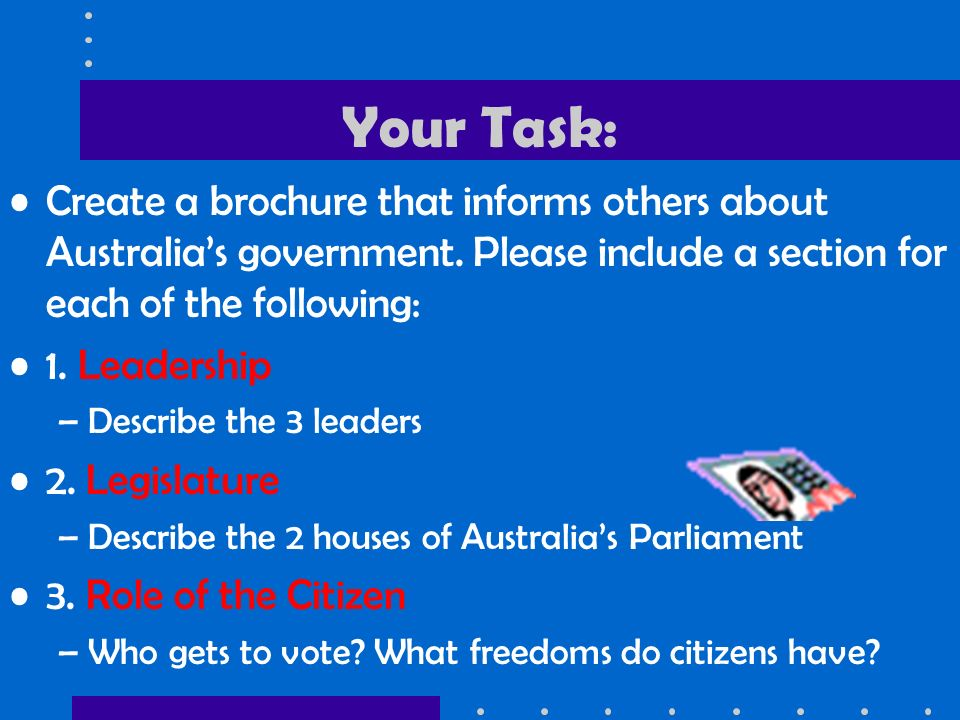 Your Task: Create a brochure that informs others about Australia's government.