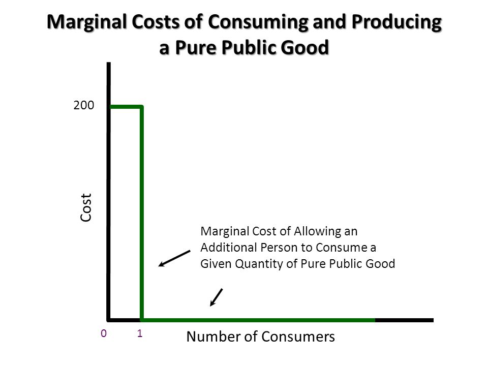 Marginal Costs of Consuming and Producing a Pure Public Good Cost Number of Consumers 0 200 Marginal Cost of Allowing an Additional Person to Consume a Given Quantity of Pure Public Good 1