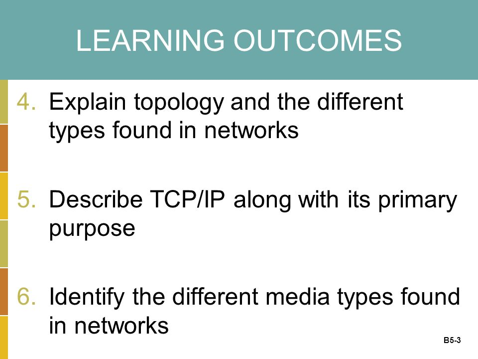 B5-3 LEARNING OUTCOMES 4.Explain topology and the different types found in networks 5.Describe TCP/IP along with its primary purpose 6.Identify the different media types found in networks