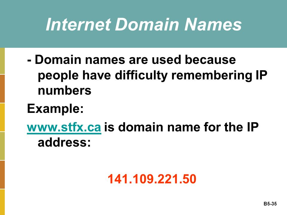 B5-35 Internet Domain Names - Domain names are used because people have difficulty remembering IP numbers Example: www.stfx.cawww.stfx.ca is domain name for the IP address: 141.109.221.50
